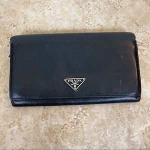 Authentic Prada black leather long wallet
